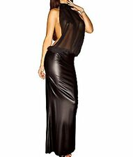 Latex Faux Look and See Through Mesh Maxi Dress