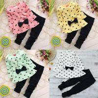 2PCS Newborn Toddler Kids Baby Girl Bow Tops T-shirt+Long Pants Clothes Outfits
