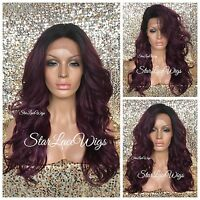 Human Hair Blend Lace Front Wig Long Wavy Curly Plum Color Dark Roots Heat Safe