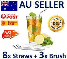 8 x Stainless Steel Metal Drinking Straw Straws Bent Reusable Washable +3 Brush