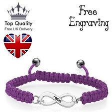 Personalised Custom Jewellery Infinity Shamballa Chord Bracelet UK