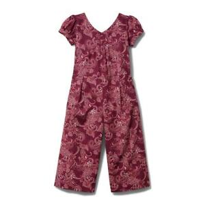 JANIE and JACK Girl Library Berry Paisley Jumpsuit NWT - Sz. 7 Berry Orig. $59