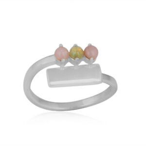 Bypass Bar Design Opal Gemstone Ring 925 Sterling Silver Charming Jewelry