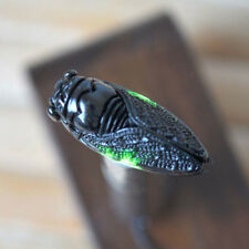 EG_ Retro Antique Chinese Style Green Jade Carved Cicada Pendant No Chain Deligh