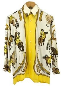 Auth HERMES Vintage Men's Silk Shirts Logo Horses Knight #42 Ivory Yellow Brown