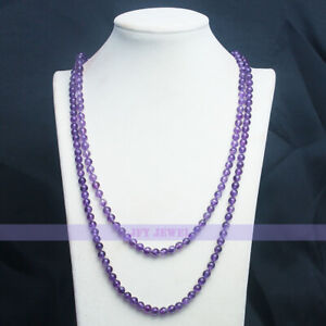 Natural 6mm Round Amethyst Bead Necklace 46 inch long Knitted Chain