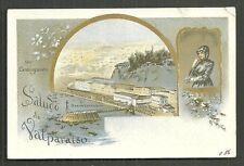 Gruss aus Saludo de Valparaiso Art Nouveau Chile 1897