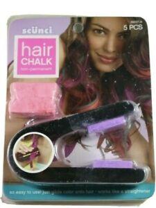 Scunci~Hair Chalk~Non Permanent Color~5 Piece Kit Pink & Purple 39227-A~NEW