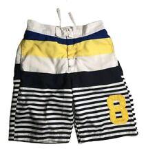 Tommy Hilfiger Ithaca Stripe Flag Logo Boys Seersucker Swim Shorts Blue