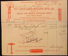 m Original 1906 Steward & Romaine Manufacturing Co. Billhead