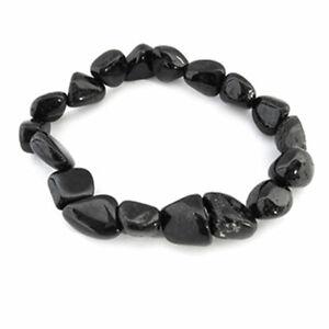 NEW Black Tourmaline Tumbled Gemstone Bracelet Stretchy Natural Stone One Size