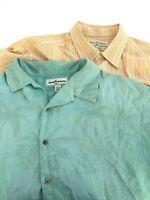Tommy Bahama Mens Size Large 100% Silk Button Up Hawaiian Camp Shirts Lot of 2