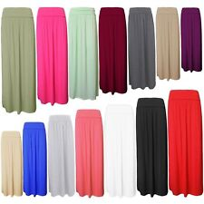 Womens Pleated Fold Over High Waist Gypsy Long Jersey Casual Maxi Skirt UK 8-22