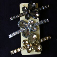 "3 Butterfly Barrettes 4"" Long Plastic Rhinestones Box Fashion Jewelry"