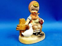 Hummel Style Girl with Bird Figurine Vintage Collectable  Foreign Ceramic
