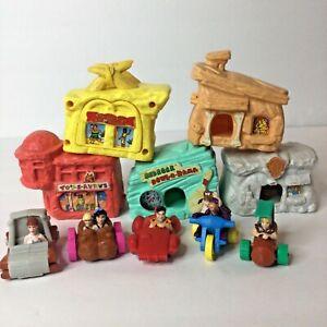 Lot Of 5 Flintstones Movie McDonalds Happy Meal Toys Complete Houses & Cars