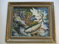 OLD FISHING SPORT FISHERMAN PAINTING WPA STYLE SIGNED 24 INCH OIL AMERICAN MOD