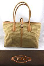 $950 TOD'S Natural Tan Velvet Leather Large Tote Shopper Shoulder Bag NWT