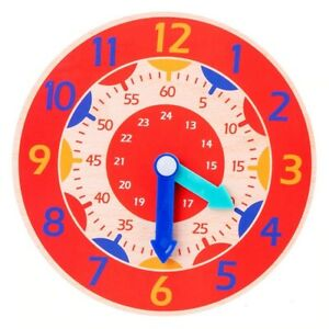 Children Teaching Clock Learning Toy Tell Time Kids Magnetic Wooden Educational