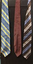 Lot Of 3: Kilburne And Finch Neck Ties Men Striped Blue Yellow Brown Red
