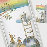 Snugsi 100% Cotton Baby Nursery Cot Fitted Sheet with Gift Box - Bunny on Ladder