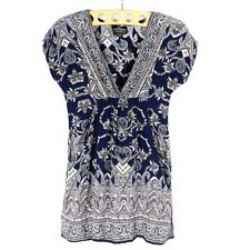 Women Bohemian Tunic Top By Angie Size S Floral Paisley Graphic Printed Knit