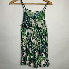 E Hanger M Anthropologie Sleeveless Romper V Neck Ruffle Short Palm Leaf Medium