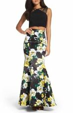 NEW XSCAPE  FLORAL SATIN TWO PIECE MERMAID BALL GOWN DRESS SIZE 4 $258 SKIRT SET
