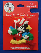Hallmark Mickey & Co Christmas Lapel Pin Mickey Mouse with gifts XPL4125