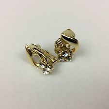 Vintage Art Deco style gold Tone With Stones Clip On Earrings