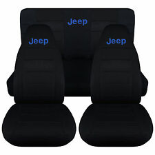 Jeep wrangler TJ Front+Rear car seat covers solid black w/Jeep,CHOOSE COLOR
