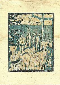 Old expressionist color woodcut monotip, 29x22.5cm.,