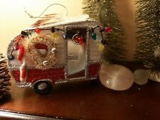 Christmastime Decorated Red And White Camper Ornament