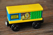 THOMAS TANK Wooden RAILWAY Carriage LION Zoo Circus BOX CAR - sounds - Excellent
