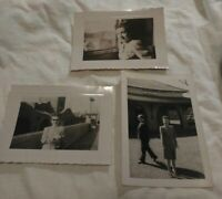 3 B&W Photo Lot Las Vegas Train Station Railroad Depot Pretty WomennCandid Vtg