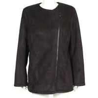 New BANANA REPUBLIC Black Faux Shearling Zip Front Jacket Coat size Large NWT