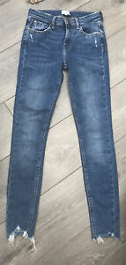 River Island Distressed Raw Hem Skinny Jeans UK 6 Ankle Grazer Blue Denim