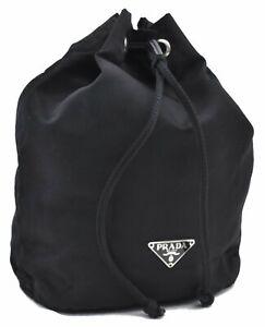 Authentic PRADA Nylon Pouch Black D7094