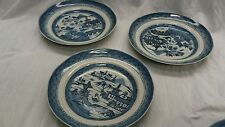 Nice 3 vintage Chinese blue and white pottery plates  has nicks and crack line