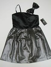 ABS Kids Sparkly Silver & Black Party Formal Dress Girls Size 14 NWT $98
