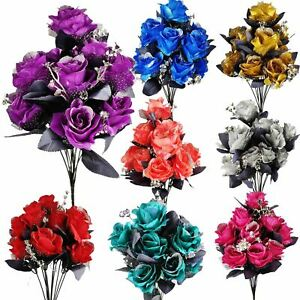 Large 12 Head Bling Glitter Vivid Bouquet Gothic Artificial Flowers Black