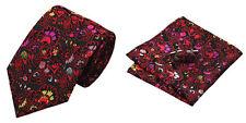 Black Red Novelty 100% Silk Classic Mens Necktie Tie Hanky Cufflink Set NT12