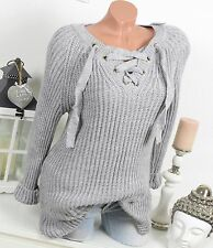 PULL tricot Lace Up pull VINTAGE Gris Dentelle 36-40 EXTRA-LARGE Laçage