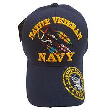 US MILITARY NAVY NATIVE VETERAN Blue Hat Cap