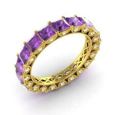 Certified 3.49 Ct Princess Amethyst & Diamond Eternity Band Ring 18k Yellow Gold