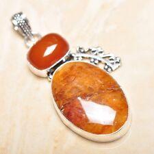 "Handmade Calcite Jasper Gemstone 925 Sterling Silver Pendant 2.5"" #P15897"