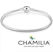 Genuine Chamilia 925 sterling silver oval clasp snake charm bracelet 19cm in box
