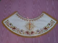 Antique  Silk Embroidered Vestment Collar Sample