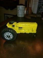 Antique Hubley Cast Metal Kiddie Toy Yellow Tractor USA MADE Minneapolis Moline