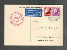 1938 Sudetenland Germany Graf Zeppelin 2 PC Cover LZ 130 to Berlin